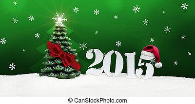 kerstboom, gelukkig nieuwjaar, 2015, groene