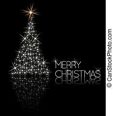kerstboom, gemaakt, van, vonkeelt