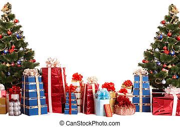 kerstboom, groep, cadeau, box.