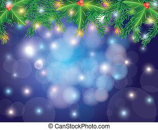 kerstboom, guirlande, en, lichten, bokeh
