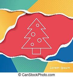 kerstboom, lijn, pictogram