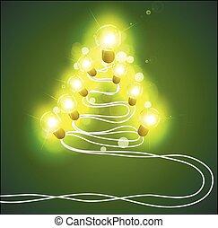 kerstboom, met, garlands
