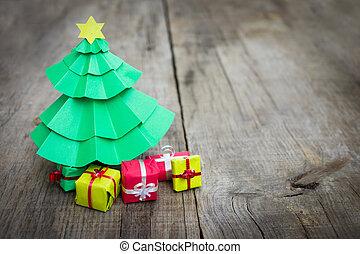 kerstboom, met, kadootjes