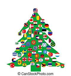 kerstboom, met, land, vlaggen
