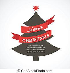 kerstboom, met, lint, en, tekst