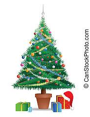 kerstboom, met, onder, de, kadootjes