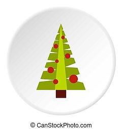 kerstboom, met, speelgoed, pictogram, cirkel