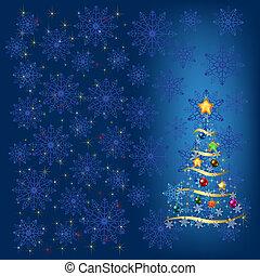 kerstboom, met, versiering, en blauw, snowflakes