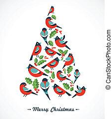 kerstboom, met, vogels, en, hulst, vellen