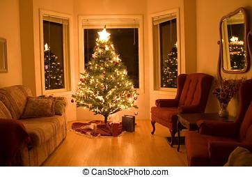 kerstboom, met, weinig, kadootjes