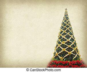kerstboom, op, oud, papier