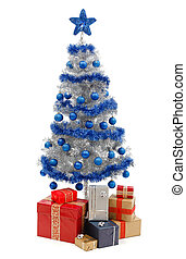 kerstboom, op wit, met, kadootjes