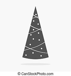 kerstboom, pictogram, plat, vector