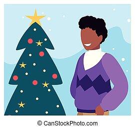 kerstboom, scène, man