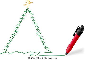 kerstboom, schrijvende pen, vrolijk, inkt werkje, rood