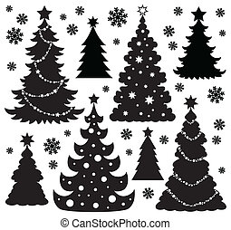 kerstboom, silhouette, thema, 1