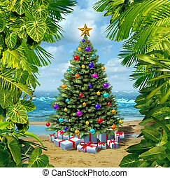kerstboom, strand, viering