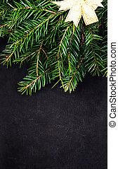 kerstboom, tak, met, feestelijk, gouden, lint, op, bord, w