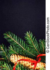 kerstboom, tak, op, bord, met, pijnappel, en, rood, festi