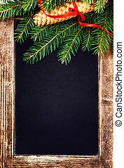 kerstboom, tak, op, ouderwetse , bord, met, puntzak, en, rood
