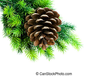 kerstboom, vrijstaand, op, de, witte achtergrond