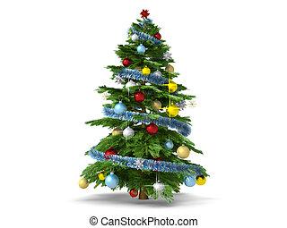 kerstboom, vrijstaand, op wit, achtergrond