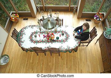 kerstdiner, tafel, setting.