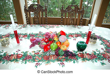 kerstdiner, tafel.