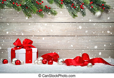 kerstkado, in, sneeuw, hout, achtergrond