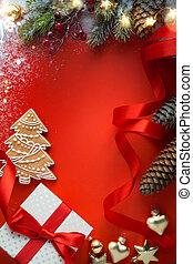 kerstkado, met, ornament, op, tafel, ;, kerstmis, begroetende kaart, achtergrond