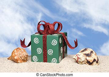 kerstkado, op, strand
