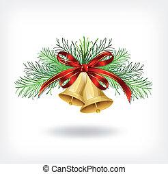 kerstklokken, met, boompje, decoraties