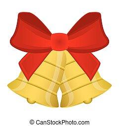 kerstklokken, met, rode boog