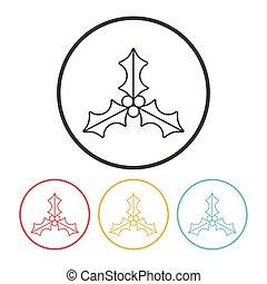 kerstkransje, lijn, pictogram