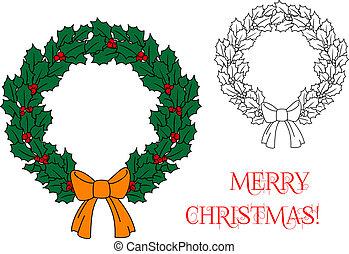 kerstkransje, met, hulst, en, besjes