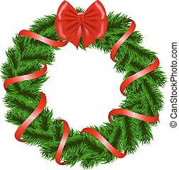 kerstkransje, met, rood lint