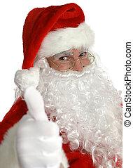kerstman, beduimelt omhoog