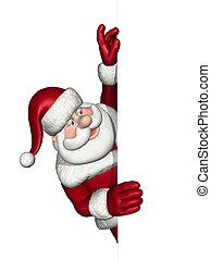kerstman, blik, op, een, rand