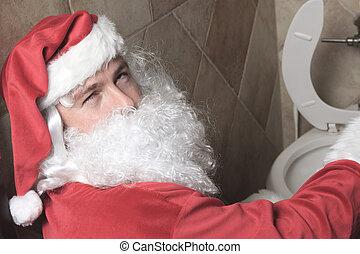 kerstman, claud, sic, in, de, bar, toilet