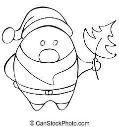 kerstman, claus., vector, geschetste, illustratie