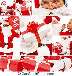kerstman, en, kadootjes