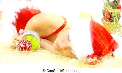 kerstman, f, claus, laat, vrouwlijk, wanhopig