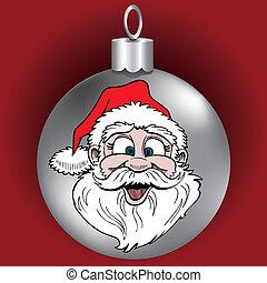 kerstman, gezicht, ornament