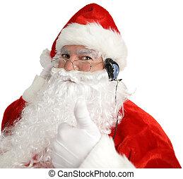 kerstman, headphones, thumbsup