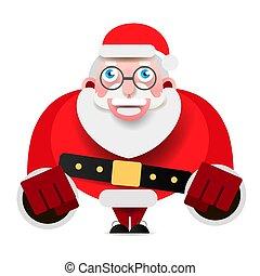 kerstman, het tonen, claus, karakter, realistisch, vector, vrolijk, kerstmis., spotprent, 3d