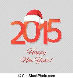 kerstman, jaar, nieuw, hoedje, kaart, vrolijke