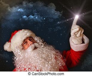 kerstman, licht, hemel, magisch, wijzende