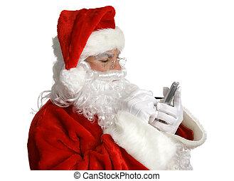 kerstman, lijst, op, pda