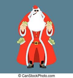 kerstman, man, na, oud, rijkdom, work., claus, geld., pocketful, kasgeld., emolument, inkomsten, partij, jaar, kerstmis., nieuw, income., rijk, kerstmis, koel