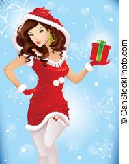 kerstman, meisje, met, kerstkado